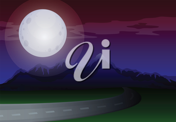 Illustration of a moonlight scenery along the road