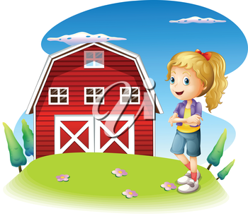 Illustration of a girl in front of the red barnhouse in the hilltop on a white background