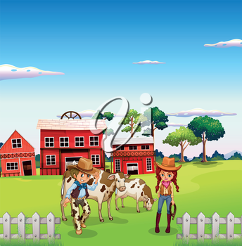 Illustration of a cowboy and a cowgirl at the farm