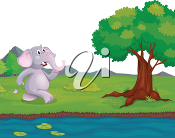 Illustration of an elephant at the riverbank