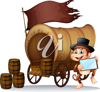 Illustration of a monkey holding a mirror beside the carriage on a white background