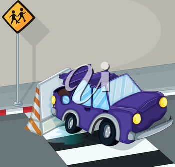 Illustration of a violet car having an accident at the road