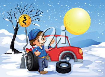 Illustration of a boy repairing a car in a snowy area