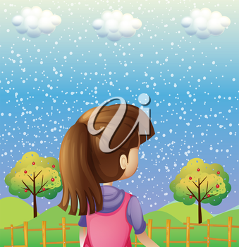 Illustration of a girl watching the trees with fruits