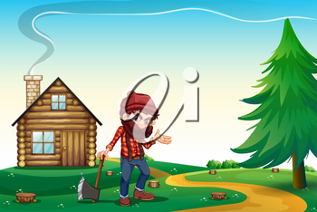 Illustration of a hill with a wooden house and a lumberjack