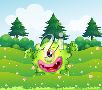 Illustration of a hilltop with a playful monster