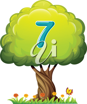 Illustration of a tree with a number seven figure on a white background