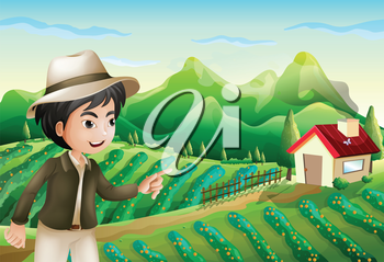 Illustration of a boy pointing at the barnhouse at the farm