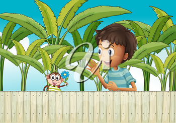 Illustration of a boy and his monkey near the fence