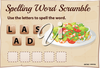 Spelling word scramble game template with word salad illustration