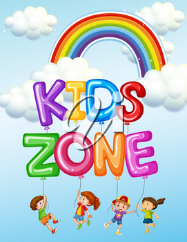 Kids zone text logo illustration