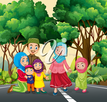 Muslim family at the park illustration