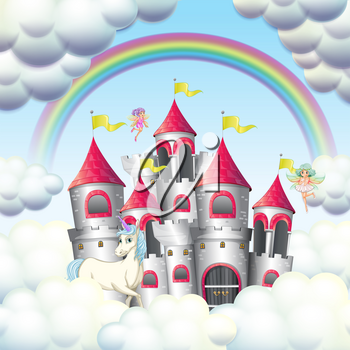 pink castle in the clouds illustration