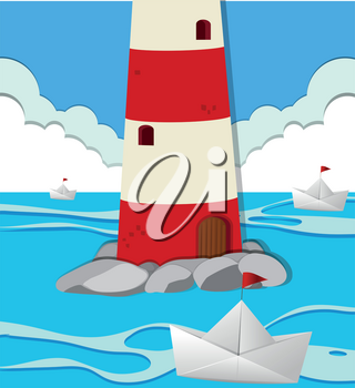 Ocean scene with lighthouse and paper boats illustration