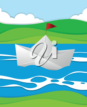 Paper boat floating in the river illustration