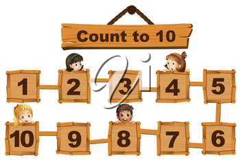 Children and numbers one to ten on wooden boards illustration