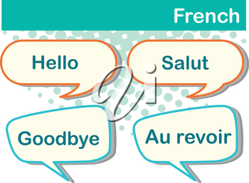 Different expressions in French language illustration