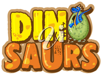 Font design for word dinosaur with dinosaur in egg illustration