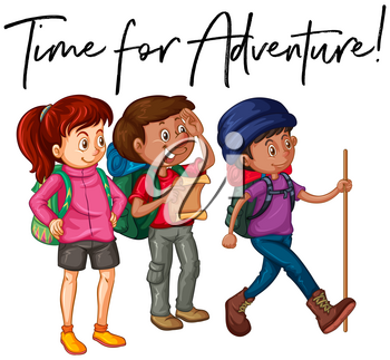 Phrase time for adventure with group of hikers illustration
