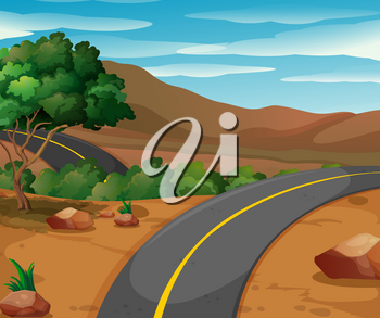 Mountain scene with empty road illustration
