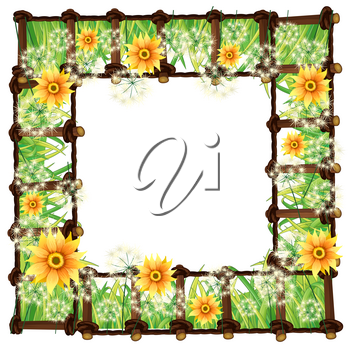 Frame template with yellow flowers illustration