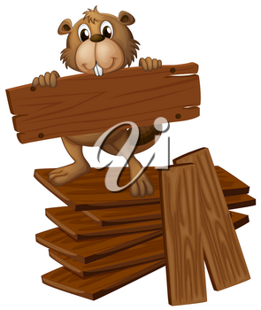 Beaver and pile of plywoods illustration