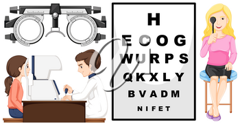 Eye checking machine and patients illustration