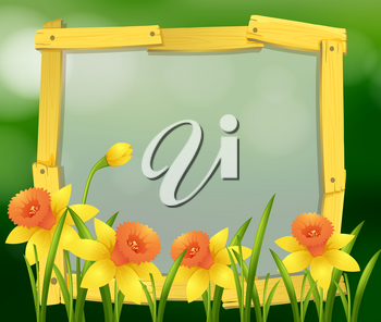 Frame design with yellow flowers illustration