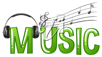 Font design for word music with headphone and music notes illustration