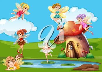 Many fairies flying over the pond illustration