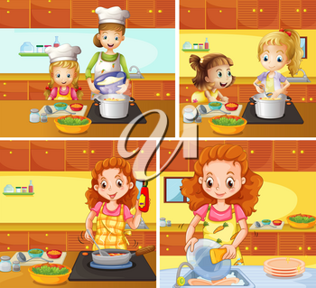 Mother and daughter cooking and cleaning illustration