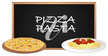 Pizza and pasta on the plates illustration