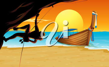 Scene with rock climber and beach illustration