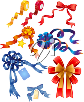 Different designs of ribbons illustration