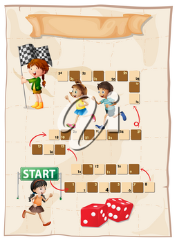Game template with kids running in race illustration