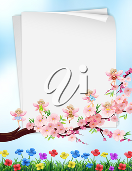 Paper design with flowers and fairies illustration