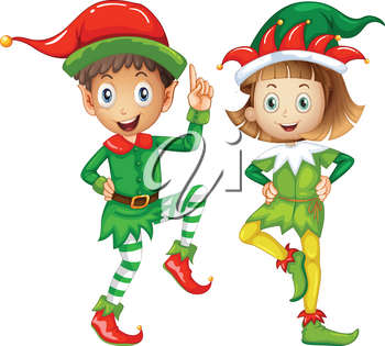 Male and female elves on white background illustration