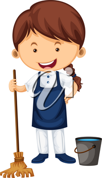 Female cleaner with broom and water bucket illustration