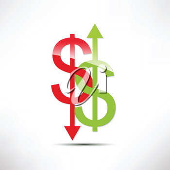 Royalty Free Clipart Image of a Dollar Exchange Rate Concept
