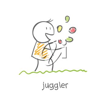 Royalty Free Clipart Image of a Person Juggling