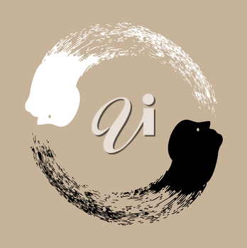 Royalty Free Clipart Image of a Taichi Yin and Yang