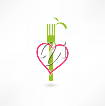 Royalty Free Clipart Image of a Vegetarian Symbol