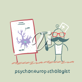 psychoneuropathologist  holds the hammer and says a presentation on the nerve cells
