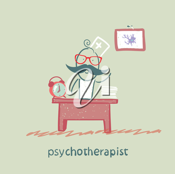 psychotherapist  working in his office