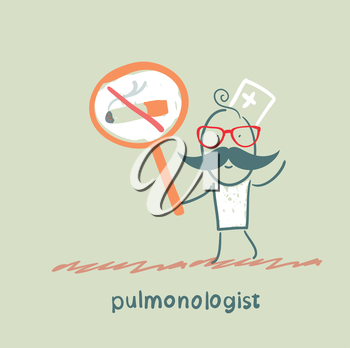 pulmonologist holding posters with a picture of a cigarette