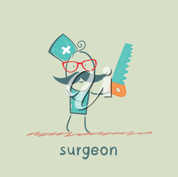 Surgeon holding a saw