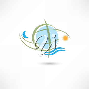 simple planet symbol with wave