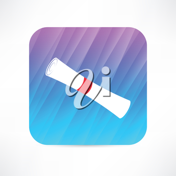 roll paper with red ribbon icon