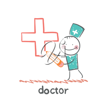 doctor draws a cross in pencil