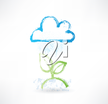 Brush icon with image of rainy cloud and green plant. Weather